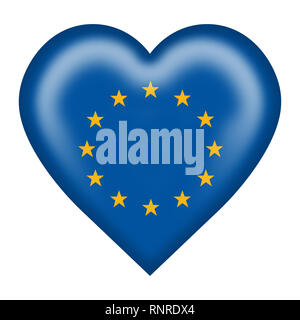 A European Union flag heart button isolated on white with clipping path - Stock Photo
