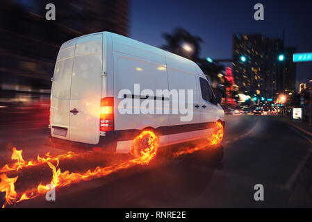 Super fast delivery of package service with van with wheels on fire. 3D Rendering - Stock Photo