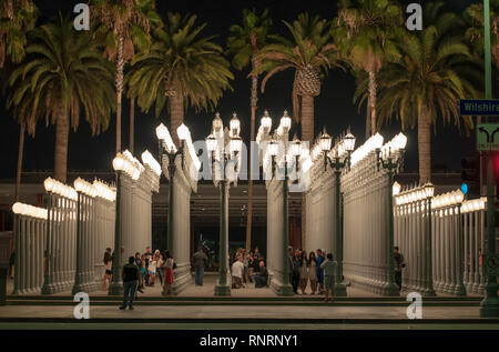 Los Angeles, California, USA - 13 June, 2014: Tourists in Los Angeles County Museum of Art - Stock Photo