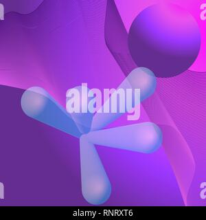 Abstract space background with planet and strange figures - Stock Photo