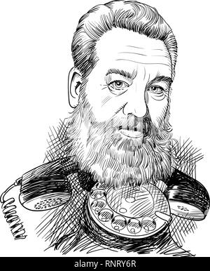 Alexander Graham Bell caricature in line art on an antique phone receiver. - Stock Photo