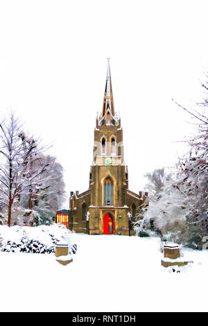 Christmas-card style painterly image of St Michael's Church in the snow, South Grove, Highgate Village, London, UK