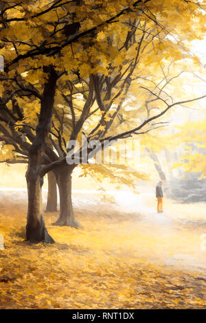 A painterly illustration of a lone male figure standing in a pool of golden sunlight, as if thinking, in an autumn woodland - Stock Photo