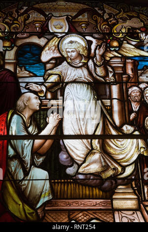 Stained Glass window depicting a Religious scene, Cathedral of the Holy Trinity, Quebec City, Quebec, Canada - Stock Photo