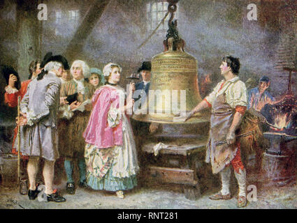 This illustration dates to 1922 and is titled Liberty Bell's First Note 1793. The artist is L J G Ferris American painter, who died in 1930. The Liberty Bell is a familiar symbol of freedom in the United States. It was ordered by the Pennsylvania Assembly in 1751 to commemorate the 50-year anniversary of William Penn's 1701 Charter of Privileges; it was to be installed in 1752 in the Pennsylvania State House, now known as Independence Hall. The bell was cast in London, England and then shipped to Pennsylvania. Soon after it arrived, the English bell cracked. In 1753, a new bell was cast from t - Stock Photo