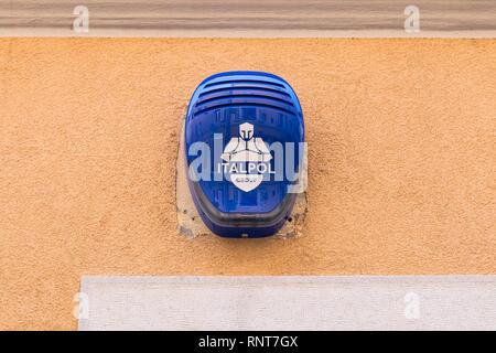 Italpol Group house alarm box on house in Italy - Stock Photo