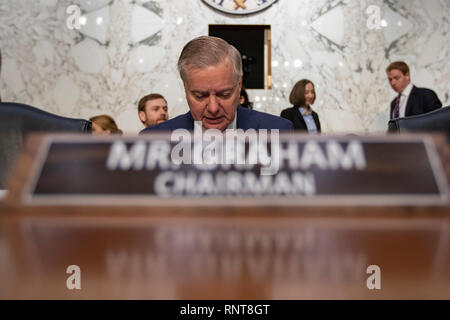 Senator Lindsey Graham, Republican of South Carolina, takes his seat prior to a Senate Judiciary Committee on Capitol Hill in Washington, DC on January 16, 2019. - Stock Photo