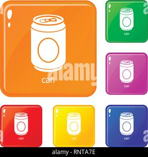 Can icons set vector color - Stock Photo