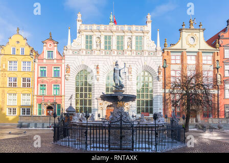 Neptune's Fountain in front of the Artus Court, Long Market, Gdansk, Poland. - Stock Photo