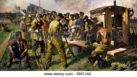 Prospectors Writing a Letter to the Creator of the Great Constitution 1937 by Vasily Yakovlev, Soviet Union Communist Propaganda (Russia under Lenin and Stalin1921-1953 ). - Stock Photo