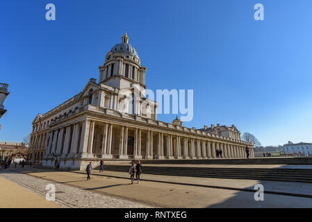 The Old Royal Naval College Chapel of Saints Peter and Paul on a beautiful sunny day, Greenwich, London, England. - Stock Photo
