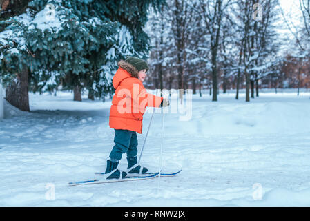 A little boy of 3-5 years old is riding one of children's toy skis. Winter forest drifts and wood drift on background. The first steps in sport and - Stock Photo