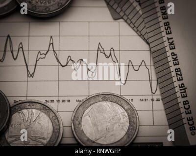 Image of money investment strategy with coins and euro bills close up - Stock Photo