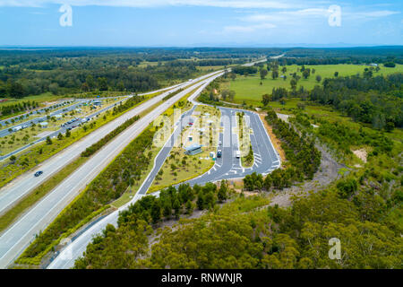 Aerial view of Clybucca Rest Area on Pacific Highway, Collombatti in New South Wales, Australia - Stock Photo