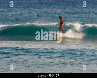 WAIKIKI, UNITED STATES OF AMERICA - AUGUST 9 2015: a woman rides a longboard at waikiki beach - Stock Photo