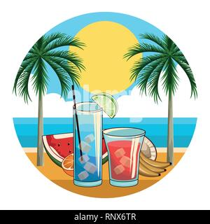 tropical cocktail drinks icon - Stock Photo