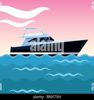 yacht boat cartoon - Stock Photo