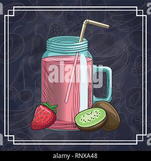 hand drawn fruits and drinks - Stock Photo