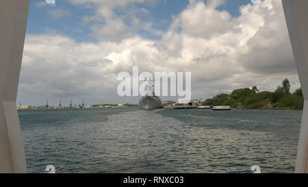 the uss missouri as seen from the arizona memorial at pearl harbor - Stock Photo