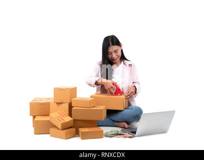 woman working sell online on white background - Stock Photo