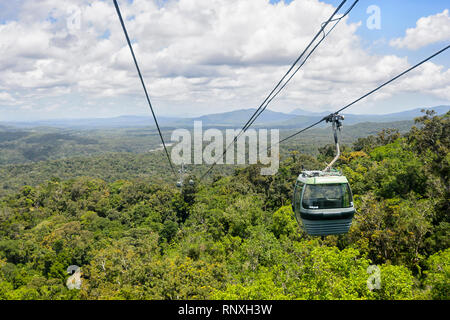 View over World Heritage Barron Gorge National Park from the SkyRail Rainforest Cableway, Cairns, Far North Queensland, FNQ, QLD, Australia - Stock Photo