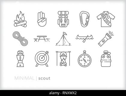 Set of 15 gray line icons of scouting including camping, archery, backpack, hike, canoe, campfire, tent, compass, flash light, lantern, picnic table - Stock Photo