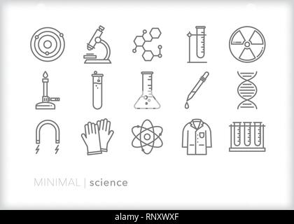 Set of 15 educational science line icons for teaching physics, chemistry and biology in the classroom - Stock Photo