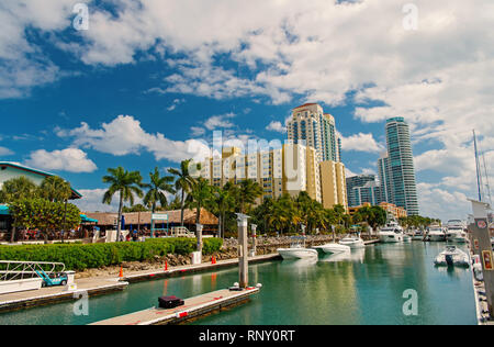 Miami, USA-February 19, 2017 : View of luxurious boats and yacht docked in a Miami South Beach Marina. Reach life concept - Stock Photo