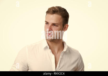 Confident in his appearance. Man bristle serious face handsome isolated white. Man beard unshaven guy looks handsome confident. Handsome in style. Guy bearded confident cares about appearance. - Stock Photo