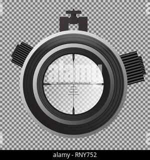 Military Sniper Scope Crosshairs. Optical Sight on Transparent Grid. Vector Illustration. - Stock Photo