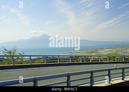 Mt. Unzen fugen and Ariake Sea, Kumamoto Prefecture, Japan - Stock Photo