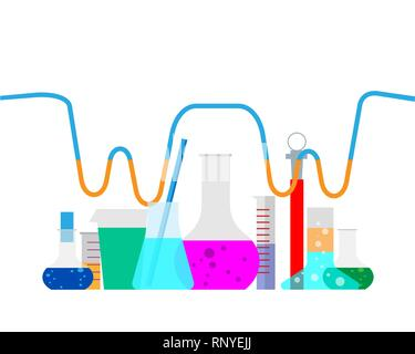 Vector illustration. Laboratory. Chemical research. Flat study background. Creative process. - Stock Photo
