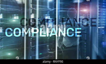 Compliance diagram with icons. Business concept on abstract background. - Stock Photo