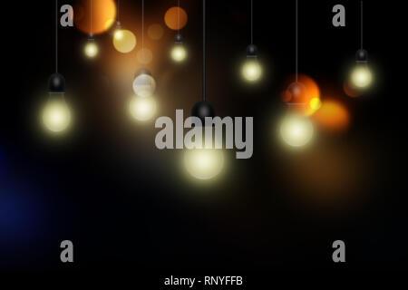 Light bulbs on dark background - Stock Photo