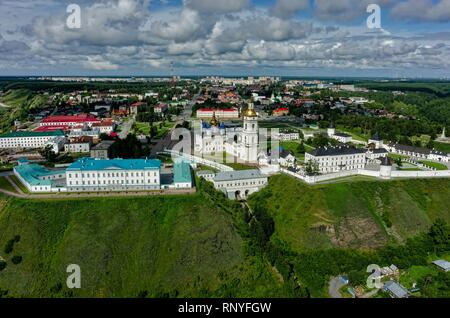 Tobolsk, Russia - July 15, 2016: Aerial view onto Tobolsk Kremlin with St. Sophia-Assumption Cathedral and belltower in summer day. Tyumen region - Stock Photo