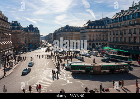Looking out onto the Place de l'Opéra from the Palais Garnier, Paris, France - Stock Photo