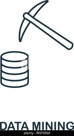Data Mining outline icon. Thin line style from big data icons collection. Pixel perfect simple element data mining icon for web design, apps, software - Stock Photo