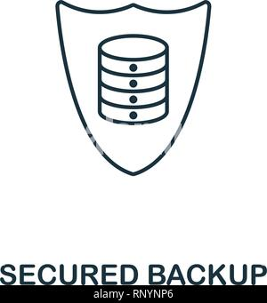 Secured Backup outline icon. Thin line style from big data icons collection. Pixel perfect simple element secured backup icon for web design, apps - Stock Photo