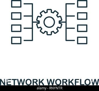 Network Workflow outline icon. Thin line style from big data icons collection. Pixel perfect simple element network workflow icon for web design, apps - Stock Photo