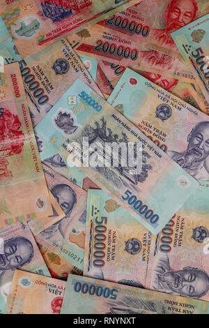 Various notes and denominations of Vietnamese Dong, the local currency of Vietnam, Asia - Stock Photo
