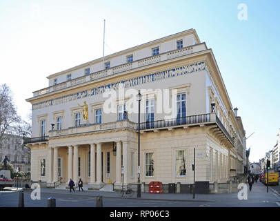The Atheneum, an exclusive, private members club on Pall Mall, London, UK.Building designed by Decimus Burton - Stock Photo