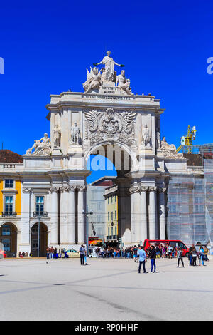 Lisbon, Portugal - March 27, 2018: Praca do Comercio or Commerce square with Rua Augusta Arch and people - Stock Photo