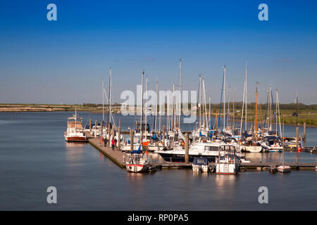 Sail boats in the harbour, Greetsiel, Leybucht, Krummhörn, East Frisia, Lower Saxony, Germany, Europe - Stock Photo