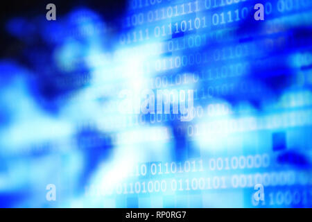 password and privacy data breach. internet data stolen. global data connection. binary text on pixel blue block background. random pattern of lighting - Stock Photo