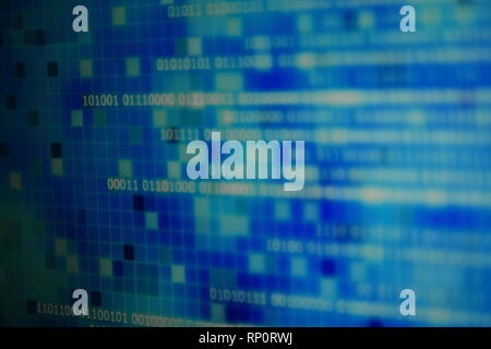 magic of information technology. computer data in binary format with blur world map background behind transparent blue block grid. ocean on digital in - Stock Photo