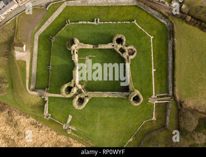 Aerial view of Rhuddlan Castle ruin from directly overhead, looking down onto the interior courtyard, Rhuddlan, Denbighshire, North Wales - Stock Photo
