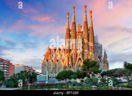 BARCELONA, SPAIN - FEBRUARY 10, 2016: Sagrada Familia basilica in Barcelona. The Antoni Gaudi masterpiece has become a UNESCO World Heritage Site in 1 - Stock Photo