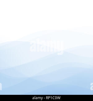 Abstract high resolution image of curvy and wavy light blue lines and layers on white background. Copy space. - Stock Photo