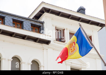 La Vella, Andorra. A Flag of Andorra hanging out in a street of the city center - Stock Photo
