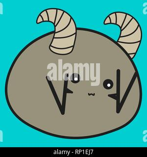 Bunny is the zodiac sign of Pisces in a cartoon style. Vector illustration on color background. - Stock Photo